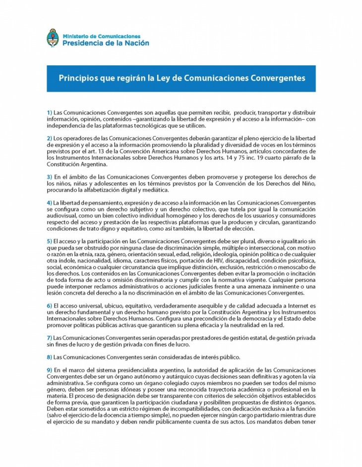 La Comisión Redactora presentó los 17 principios de la nueva ley ...